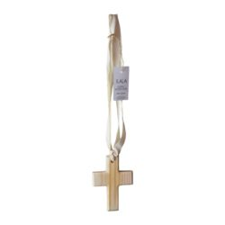Ilala wooden scented cross on ribbon 125mm x 90mm