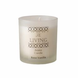 JE Living aroma candle in frosted whiskey glass in gift box
