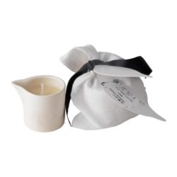 JE Spa ceramic jojoba shea butter soy wax candle linen bag