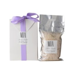 Deluxe bath rock crystals 250g in a white bag