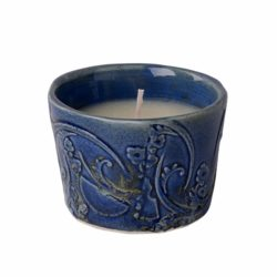 French Country Home soy wax candle in linen bag BLUE