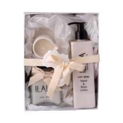 Ilala gift hand and body lotion 300ml - ceramic pouring candle - bath dust 260ml