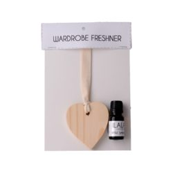 CLASSY HOME wooden scented heart on ribbon 11ml fragrance oil wardrobe freshener