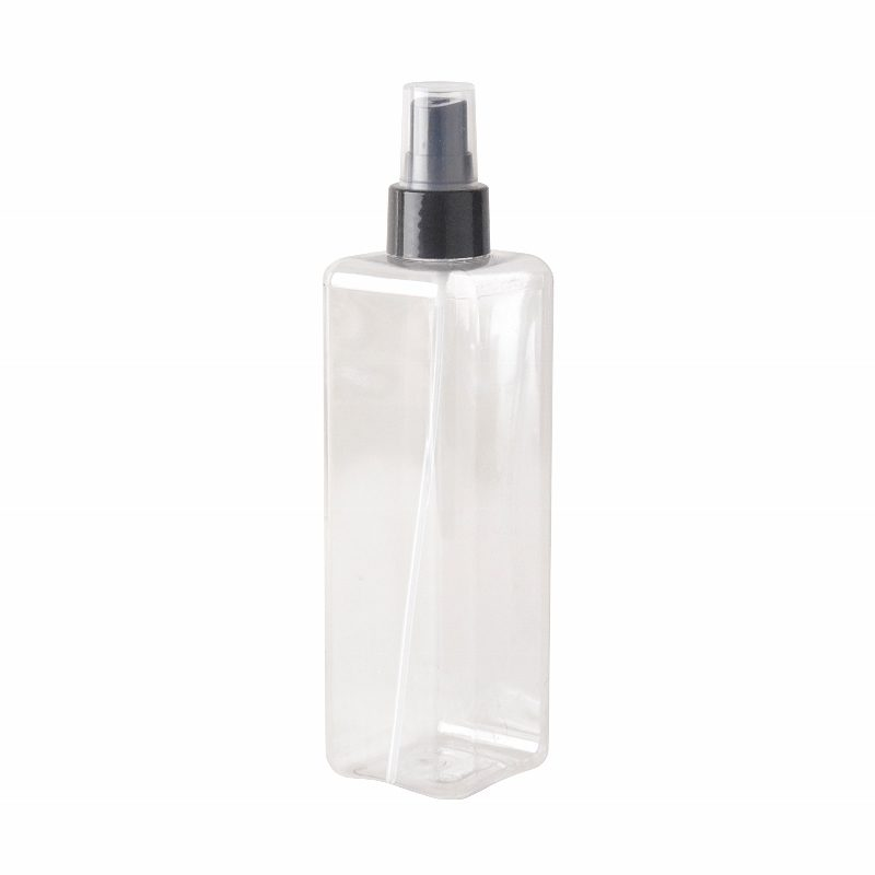 Plastic square bottle 300ml and spray
