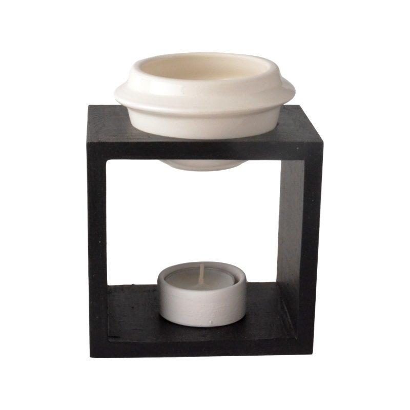 Wooden burner bowl and ceramic tea light candle holder - BLACK