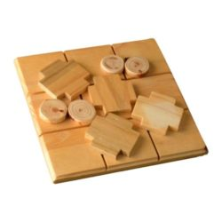Wooden naughts and crosses board game using reclaimed wattle and pine 210mm x 210mm