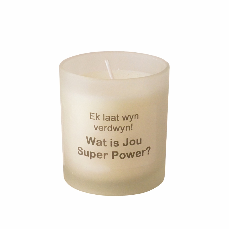 Aroma candle in a frosted glass in a gift box - AFRIKAANS QUOTE