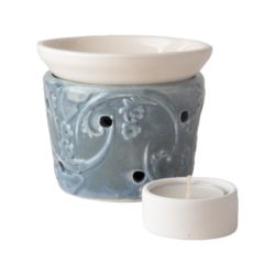 Ceramic burner bowl and ceramic tea light candle holder – BLUE