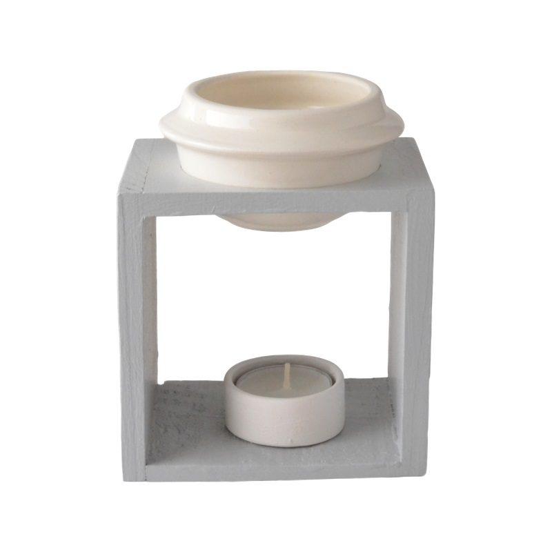 Wooden burner bowl and ceramic tea light candle holder